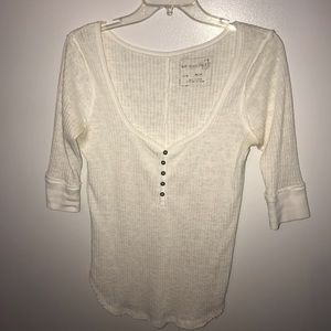 Free People Creme V-Neck Top